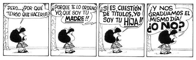 Tira cómica de Mafalda sobre paternidad