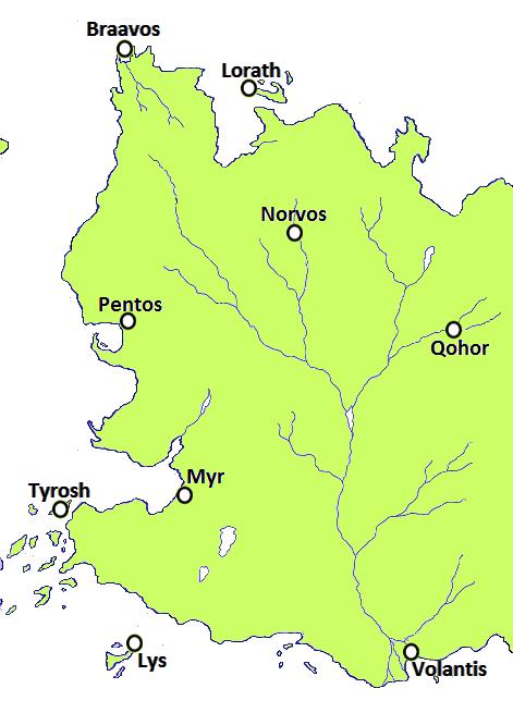 Ciudades libres de Essos y antiguas colonias de Valyria