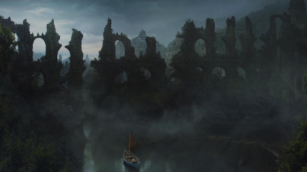 Restos de la Antigua Valyria cuando Jorah Mormont atraviesa el Mar Humeante con Tyrion