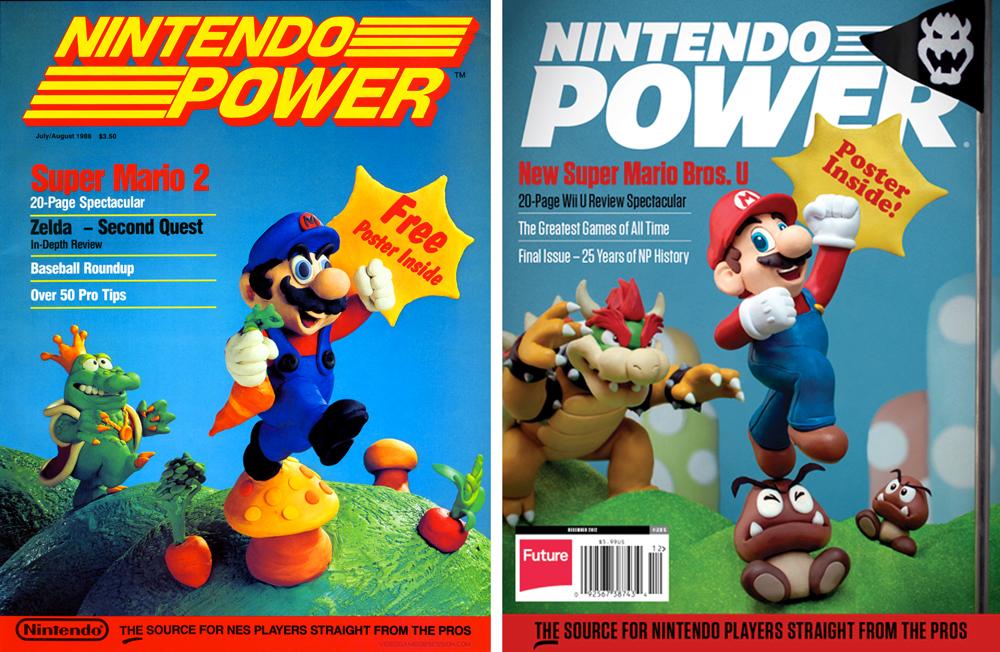 La primera y la última portada de la Nintendo Power, en la que 24 años después se rendía homenaje a su historia.