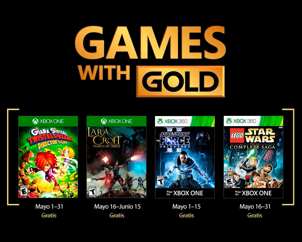 Games With Gold para mayo del 2017