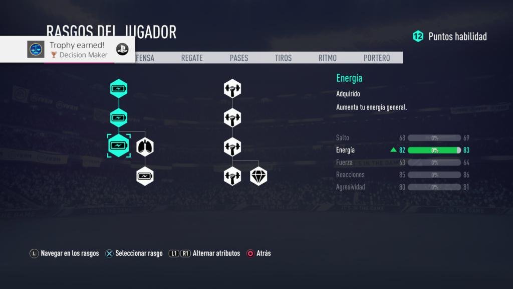 Árbol de mejoras del FIFA 19.