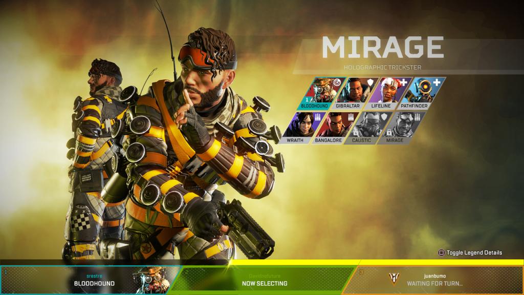 Apex Legends, pantalla de selección de personajes.