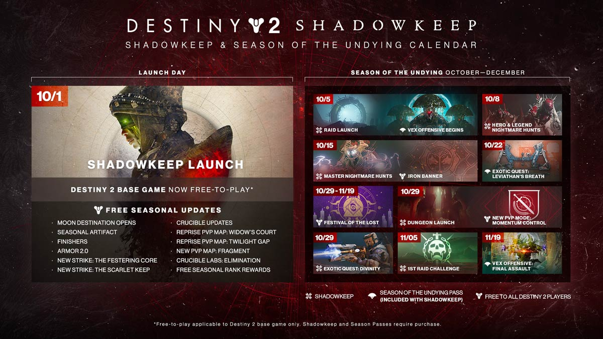 Destiny 2 - Shadowkeep Undying Calendar