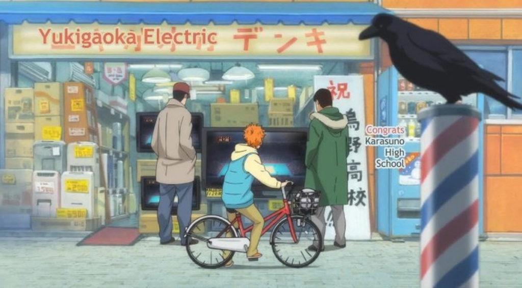 Hinata viendo al Pequeño Gigante de la escuela Karasuno.